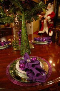 Purple and Green Christmas table