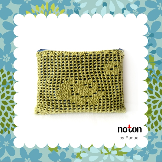 Green Crochet Denim Clutch