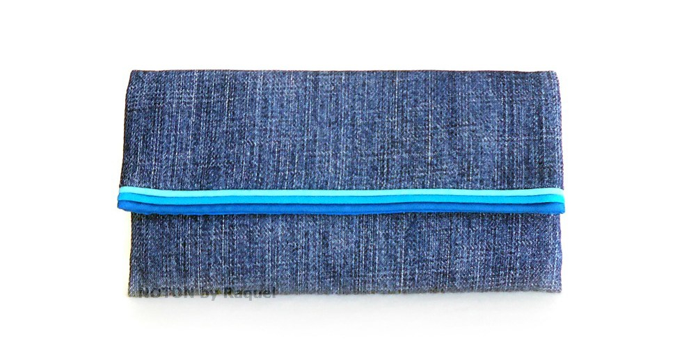 women turquoise denim washable wallet