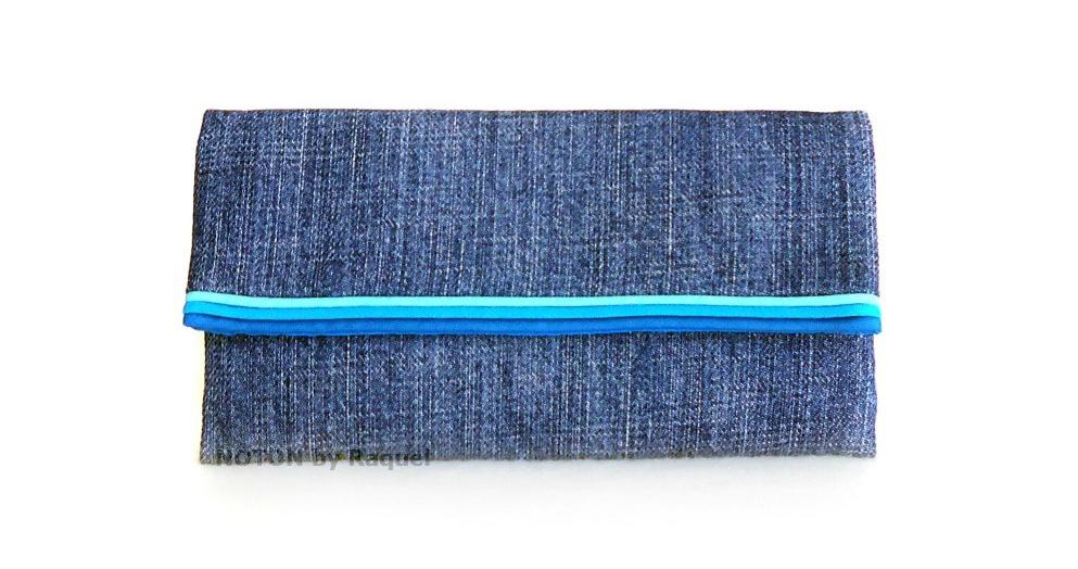 women turquoise denim washable wallet
